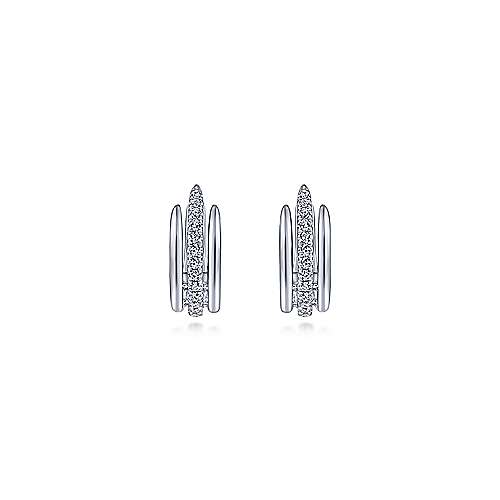14K White Gold Layered 10mm Diamond Huggie Earrings