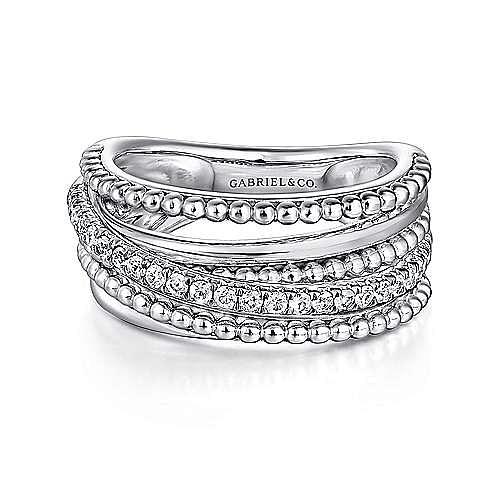 14K White Gold Layered Bujukan Beaded Diamond Ring
