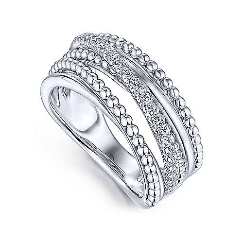 14K White Gold Layered Bujukan Beaded White Sapphire Ring