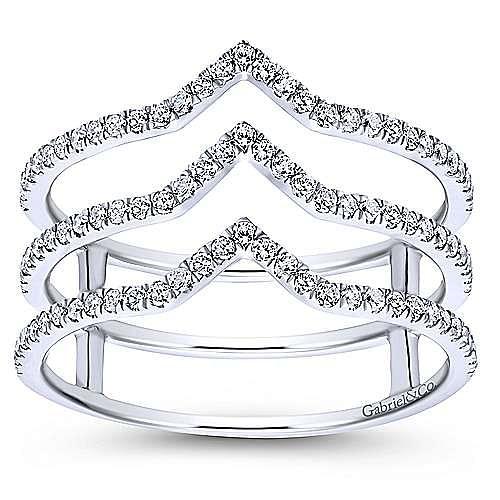 14K White Gold Layered Diamond Chevron Wide Band Ring