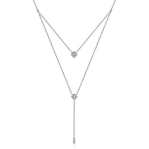 14K White Gold Layered Diamond Cluster Y Necklace