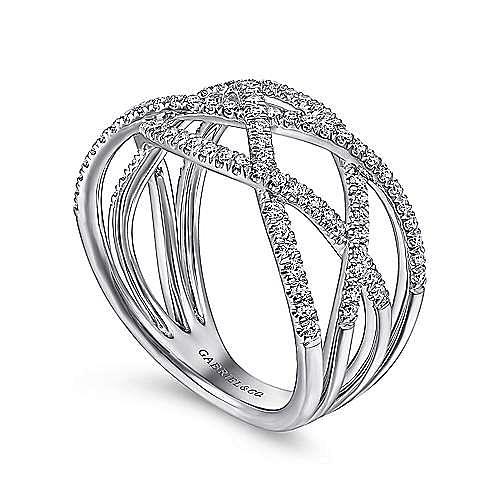 14K White Gold Layered Grid Diamond Ring