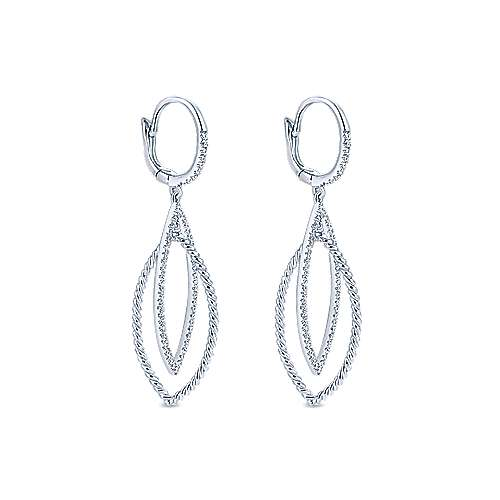 14K White Gold Layered Open Leaf Diamond Drop Earrings