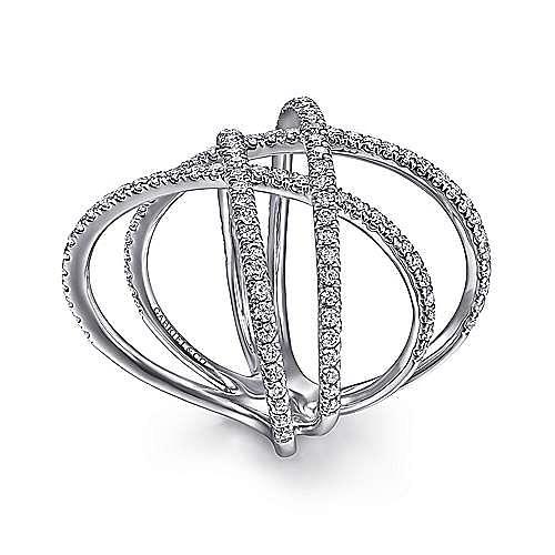 14K White Gold Layered Woven Diamond Ring