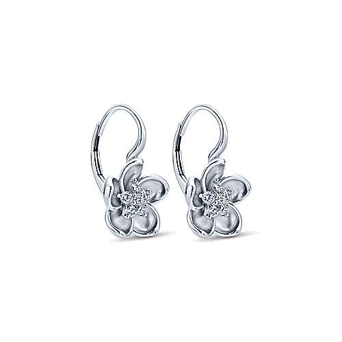 14K White Gold Leverback Flower Earrings with Diamond Center
