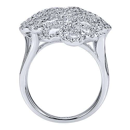 14K White Gold Long Criss Crossing Pattern Statement Diamond Ring