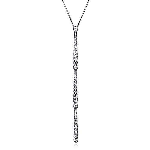 14K White Gold Long Diamond Bar Pendant Necklace