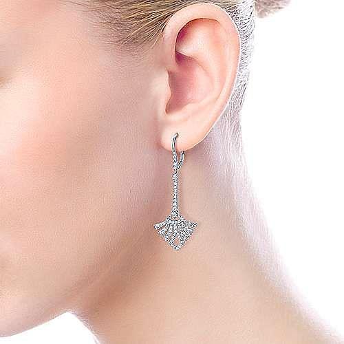 14K White Gold Long Diamond Fan Leverback Drop Earrings