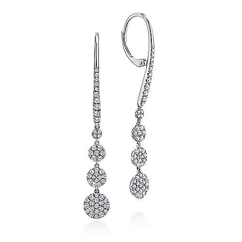 14K White Gold Long Graduating Circle Diamond Drop Earrings