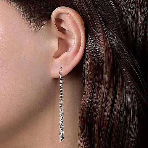 14K White Gold Long Graduating Diamond Bar Earrings
