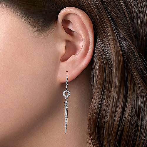 14K White Gold Long Hexagon and Bar Diamond Drop Earrings