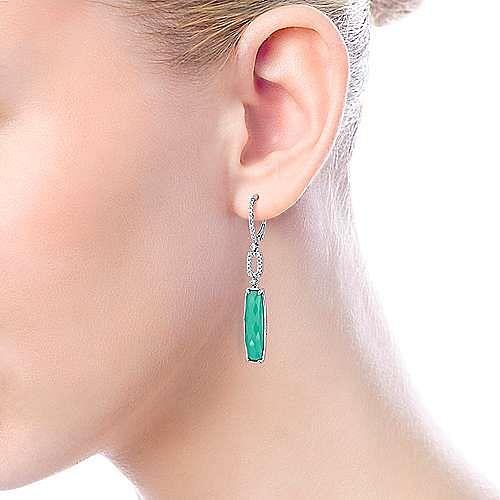 14K White Gold Long Rock Crystal/Green Onyx Drop Earrings with Diamond Tops