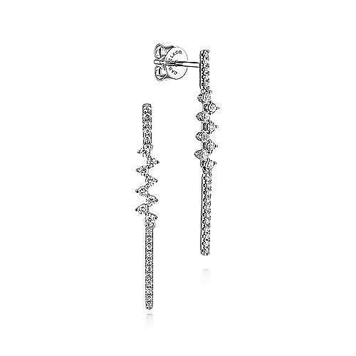 14K White Gold Long Zig Zag Drop Diamond Earrings