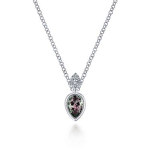 14K White Gold Manmade Alexandrite Pendant Necklace with Diamond Accents