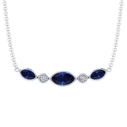 14K White Gold Marquis Cut Sapphire and Bezel Set Diamond Bar Pendant Necklace