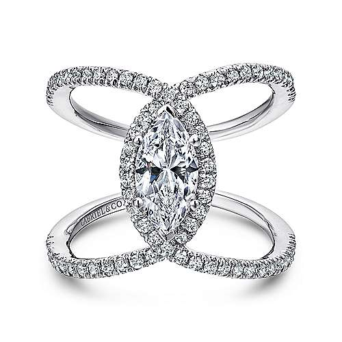 14K White Gold Marquis Halo Diamond Engagement Ring