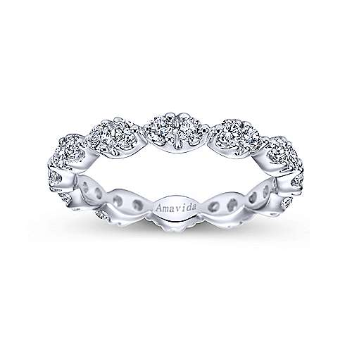 14K White Gold Marquis Shape Station Diamond Eternity Band