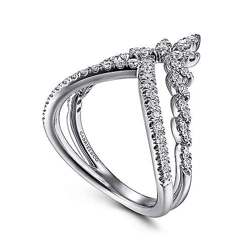 14K White Gold Marquise Cluster Diamond Double V Ring