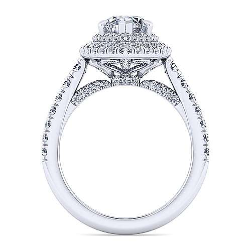14K White Gold Marquise Double Halo Diamond Engagement Ring