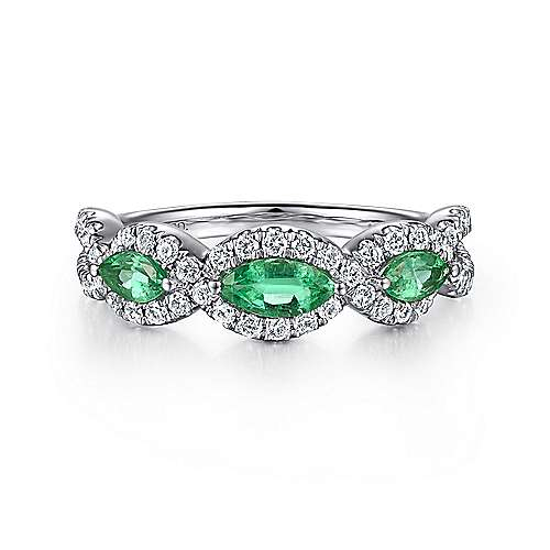 14K White Gold Marquise Emerald and Pavé Diamond Ring