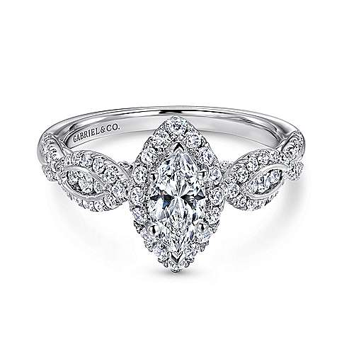 14K White Gold Marquise Halo Complete Diamond Engagement Ring