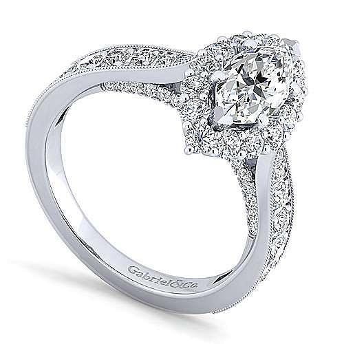 14K White Gold Marquise Halo Diamond Engagement Ring