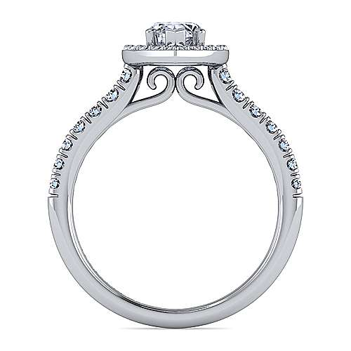 14K White Gold Marquise Halo Diamond Engagement Ring