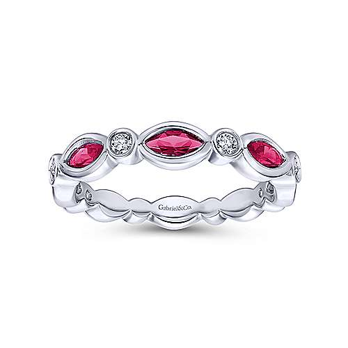 14K White Gold Marquise Ruby and Round Diamond Ring