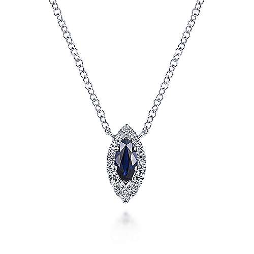 14K White Gold Marquise Sapphire and Diamond Halo Pendant Necklace