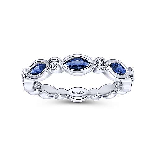 14K White Gold Marquise Sapphire and Round Diamond Ring