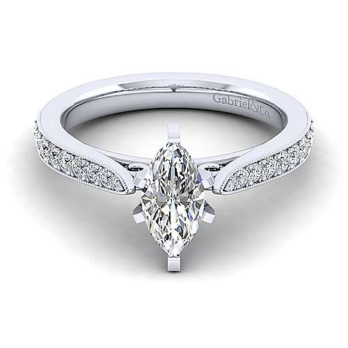 14K White Gold Marquise Shape Diamond Engagement Ring