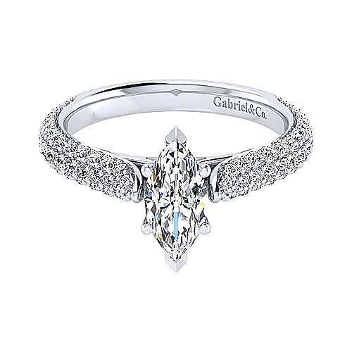 14K White Gold Marquise Shape Diamond Engagement Ring