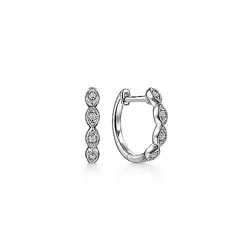14K White Gold Marquise Shape Diamond Station Huggie Earrings
