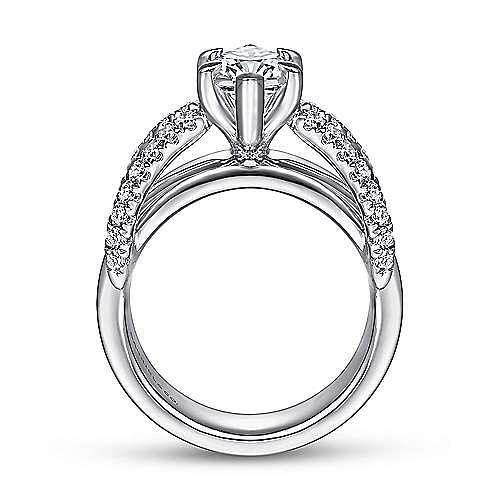 14K White Gold Marquise Shape Diamond Wide Band Engagement Ring