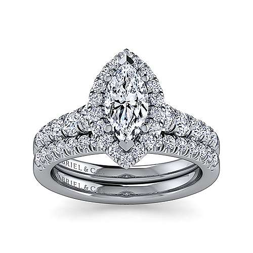 14K White Gold Marquise Shape Halo Diamond Engagement Ring