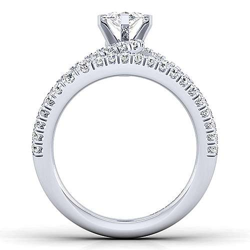 14K White Gold Marquise Shape Split Shank Diamond Engagement Ring