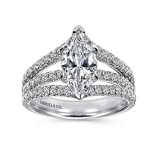 14K White Gold Marquise Shape Split Shank Diamond Engagement Ring