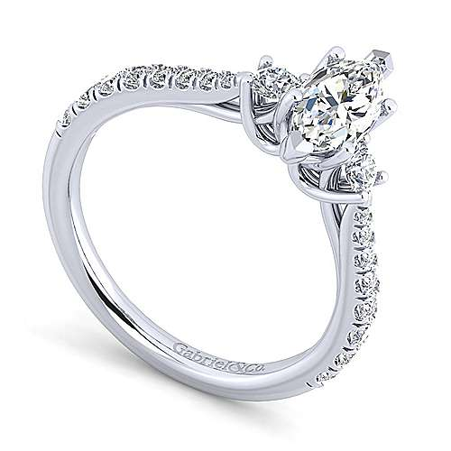 14K White Gold Marquise Shape Three Stone Diamond Engagement Ring