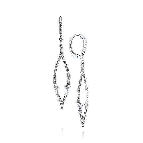 14K White Gold Marquise Shaped Open Pavé Diamond Drop Earrings