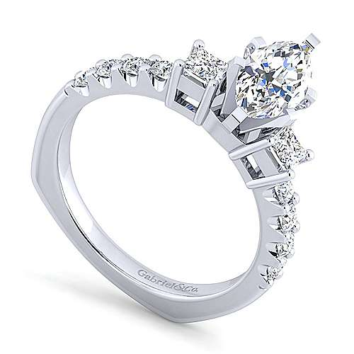 14K White Gold Marquise Three Stone Diamond Engagement Ring