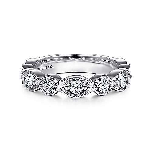 14K White Gold Marquise and Round Diamond Anniversary Band