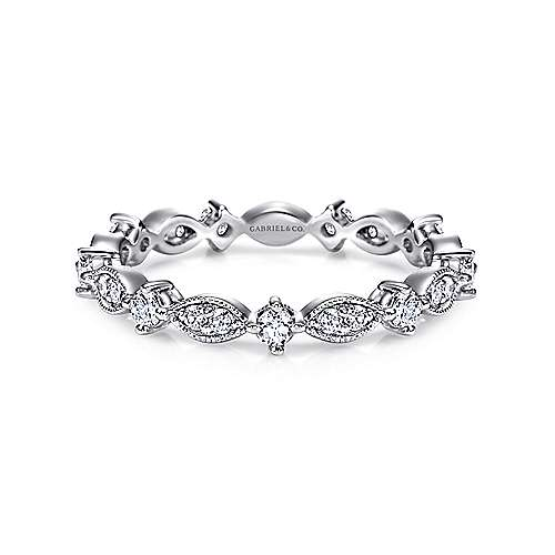 14K White Gold Marquise and Round Station Diamond Eternity Band