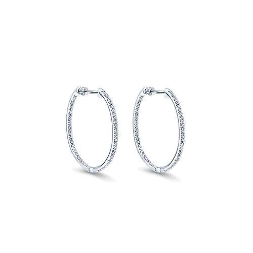 14K White Gold Micro Pavé 30mm Round Inside Out Diamond Hoop Earrings