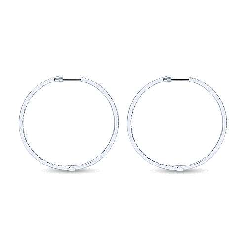 14K White Gold Micro Pavé 35mm Round Inside Out Diamond Hoop Earrings