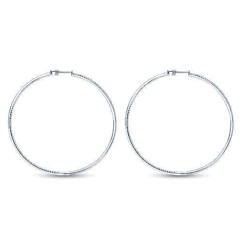 14K White Gold Micro Pavé 65mm Round Inside Out Diamond Hoop Earrings