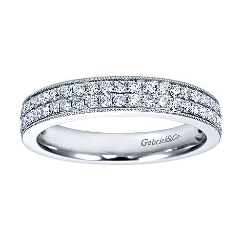 14K White Gold Micro Pavé Channel Diamond Anniversary Band with Millgrain
