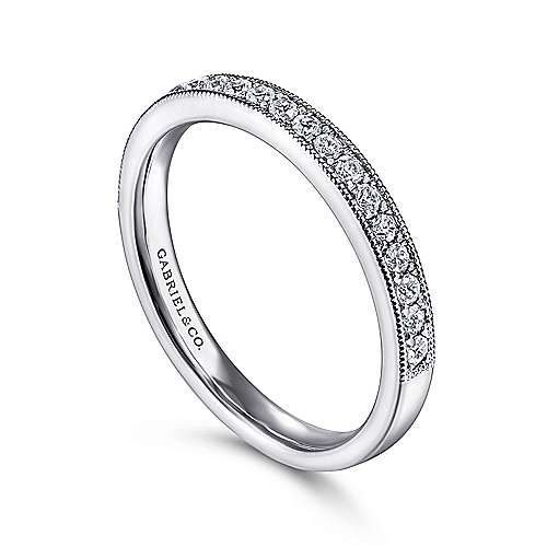 14K White Gold Micro Pavé Channel Diamond Wedding Band with Millgrain