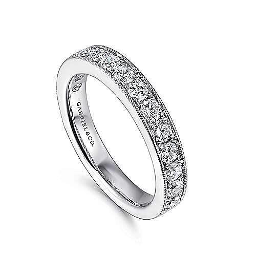14K White Gold Micro Pavé Set Diamond Wedding Band with Millgrain