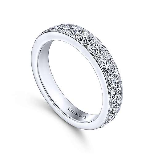 14K White Gold Micro Pavé Set Diamond Wedding Band with Millgrain