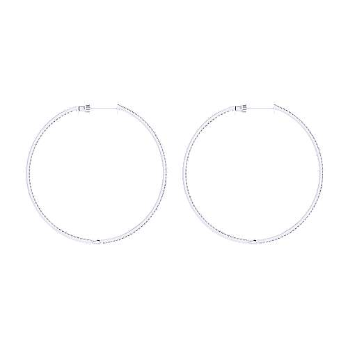 14K White Gold Micro pave 50mm Round Inside Out Diamond Hoop Earrings